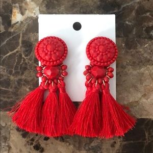 H&M Red Tassel Earrings